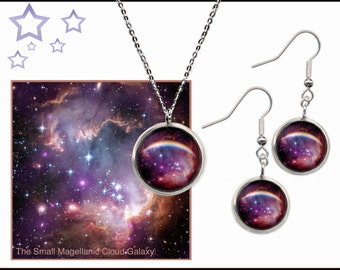 Small Magellanic Cloud Galaxy Earrings and Pendant set with sterling silver wires and chain.
