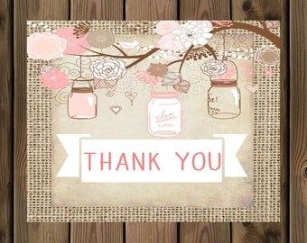 Burlap Rustic Girl thank you note card, _53