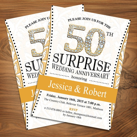 Surprise th wedding anniversary black gold diamond