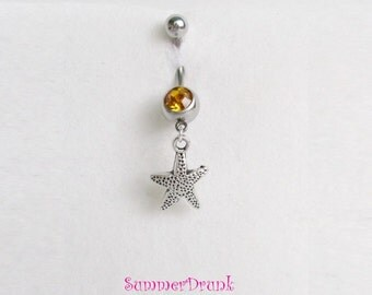 Sea star belly button ring , Navel ring, Belly button Jewelry, Belly button piercing, Bbelly button ring