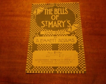 Vintage 1917 sheet music. The Bells of Saint Mary's