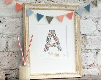 Personalized name print, birth announcement, kids nursery decor, nursery wall art, handmade, baby gift,