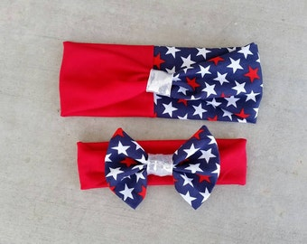 Fourth of July mommy and me headband set, patriotic headbands