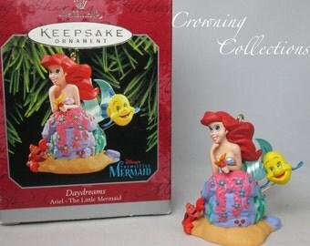 Disney Hallmark The Little Mermaid Ornament Daydreams Ariel Sebastian and Flounder Vintage Keepsake Princess