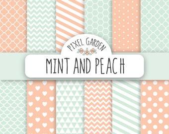 Mint and Peach Digital Paper Pack. Pastel Scrapbooking Paper. Mint Polka Dot Digital Clip Art, Chevron, Quatrefoil and Honeycomb Pattern.