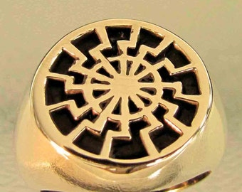bronze ring  Black Sun Wheel Occult NEW (11)