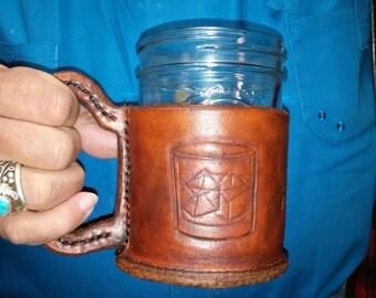Mason jar or bottle mug, leather, custom tooled