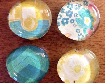 glass magnets - vintage camera magnets - stone magnets - pebble magnets -  set of 4 - refrigerator magnets