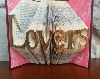 Lovers- Folded Book Art - Fully Customizable, Love, wedding, engagement