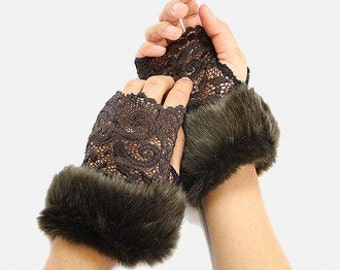 Laced Acrylic Faux Fur Gloves