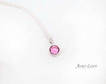 Swarovski Birth Stone Necklace - Gift Idea for Birthday, Everyday Necklace- Gift for sisters,Mothers Necklace,