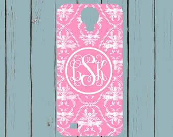 Galaxy S7 Case Galaxy Note 4 Case Damask Pink Monogram Note 5 case Galaxy S6 Case iPhone 6 plus case Personalized iPhone SE Case