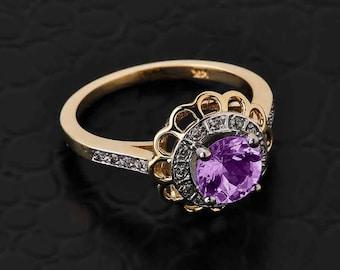 Solid Gold Diamond Alexandrite Halo Engagement Ring. CZ Alexandrite Gold Ring. Pave diamond. Flower halo.