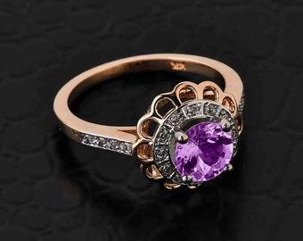 Solid Rose Gold Diamond Alexandrite Halo Engagement Ring. CZ Alexandrite Rose Gold Ring. Pave diamond. Flower halo.