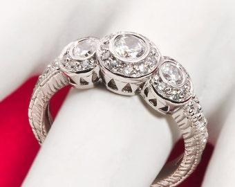 Diamond engagement ring, white gold diamond and CZ engagement ring, diamond halo ring, diamond wedding ring, diamond anniversary ring