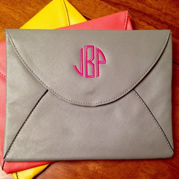 CLOSEOUT Monogrammed Clutch, Envelope Clutch, Tablet Case, Monogrammed Purse, Gray Clutch, Grey Purse, Coral Clutch, Mustard Yellow Clutch