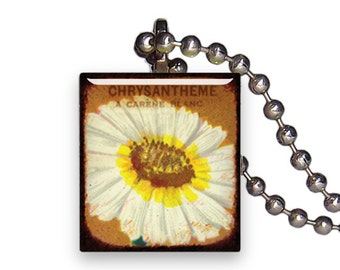 Vintage White Chrysanthemum Flower - Reclaimed Scrabble Tile Pendant Necklace