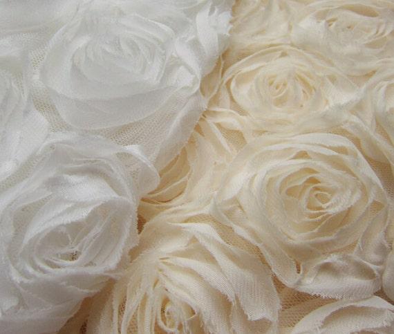 Fabric Flower Trim: Rose Floral Lace Fabric Chiffon Trim Tulle Fabric Wedding
