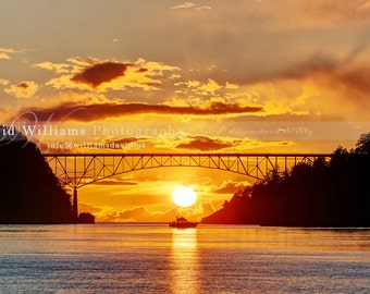 A Boat during Sunset at Deception Pass, Washington State. Photographic Print. Sunset, Sunrise, colorful, Photography.