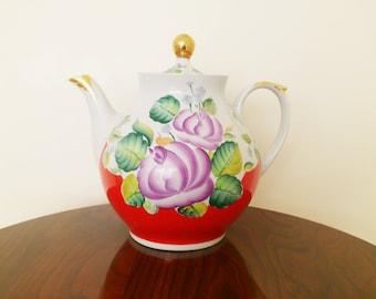 Vintage Russian Porcelain Teapot  Large Hand Painted DAMAGED