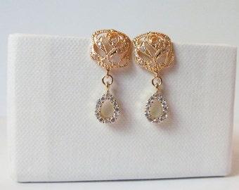 crystal rose earrings, rose wedding earrings, rose bridal earrings, CZ rose earrings,