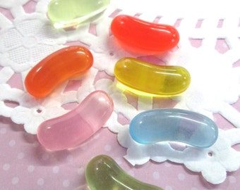 Miniature Jelly Bean cabochons, cute candy cabs for kawaii and deco den crafts