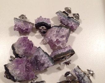 Amethyst Cluster Pin