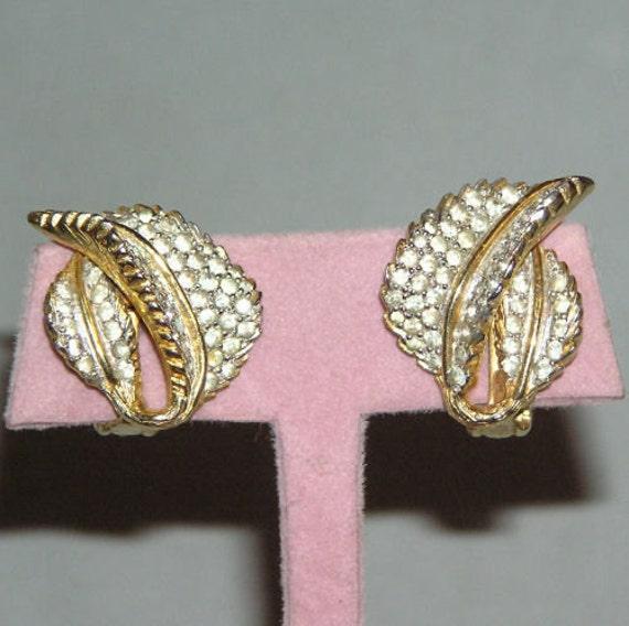 VTG Nettie Rosenstein Rhinestone Leaf Earrings