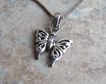 Butterfly silver necklace free shipping