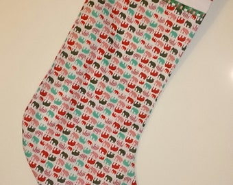 Cute Unusual Elephants in Red and Green Christmas Stocking