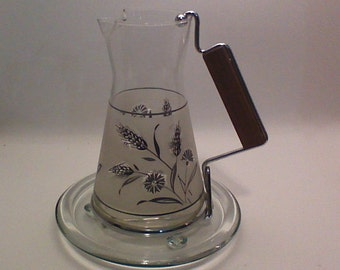Sale...Petite Libbey Pitcher with Glass Coaster..Inventory Reduction Sale 30% Off Code SALE30