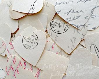 Vintage Letter Heart Confetti, Old Letters Confetti, Paper Hearts