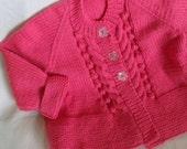 Handmade Hand Knitted Baby Child Girls Pink Jacket Cardigan