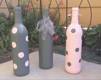 Gray and pink polka dot hand painted bottles with lace, set of 3