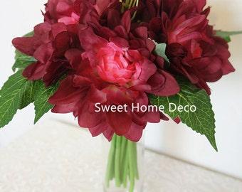 JennysFlowerShop 9'' Silk Dahlia Artificial Flower Wedding Bouquet/ Home Decoration Flower, No Pot Included Burgundy