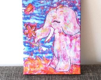Leinnwand pressure: elephant with flower