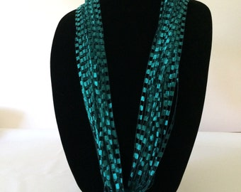 Teal Ladder Yarn Necklace