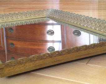 Gold Tone Filigree Square Dresser Mirror Tray | Perfume Glass Mirror Tray | Vintage Dresser Mirrored Tray | Mirrored Vanity Tray