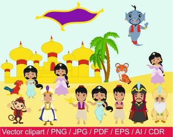 Princess Digital Clipart / Aladdin clip art / Princess  Clipart / Princess  vector / Princess  png / Princesses png / Aladdin png