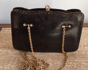 WINTER SALE! Vintage Black Snakeskin Evening Clutch with Gold Chain Straps