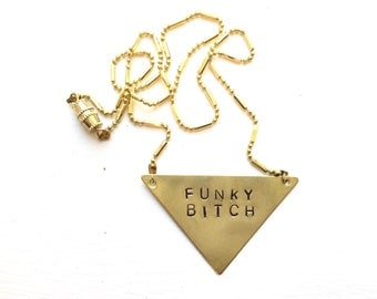 "Stamped Metal Triangle Pendant Necklace: Phish Song - ""Funky Bitch"""