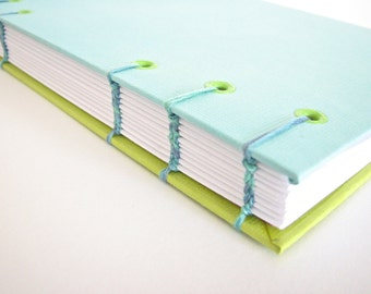 Coptic Stitch Journal in Blue and Green