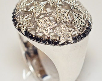 Sterling Silver 925 with Black and White Diamond Ring - Size 7 (New Price)