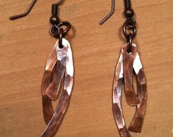 Hammered Copper 3 Dangle Earrings