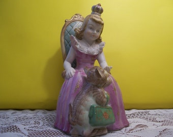 Little Girl Princess with Her Cat Figurine, Japan
