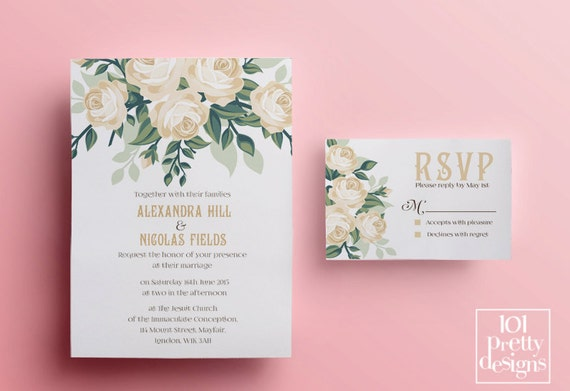 Floral wedding invitation template printable wedding invitation il570xn stopboris Image collections
