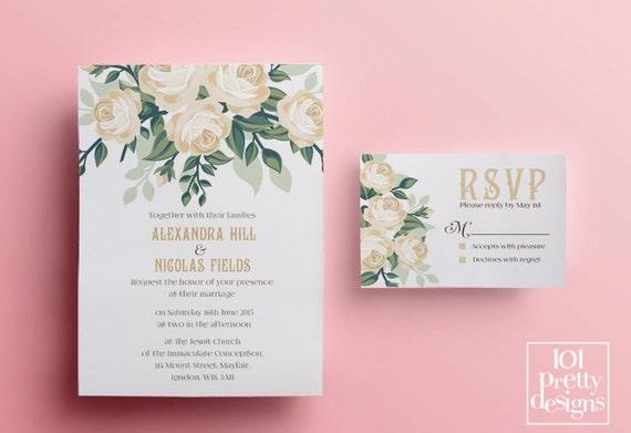 Wedding Invitations Rose: Floral Wedding Invitation Template, Printable Wedding