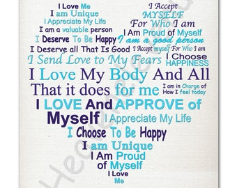 Self-Love Affirmation Word Art/Typography Art Printable Instant Download A4 JPG Wall Art Blue
