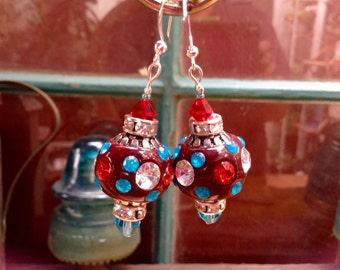 Queen of sparkle, A royal pair of crystal and rhinestone hoop earrings