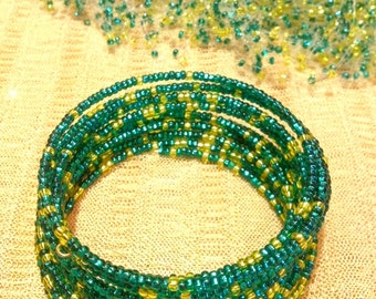 Bead bracelet. Yellow-green color. Multi-row bracelet. High quality Czech beads.